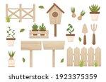 set spring gardening wooden... | Shutterstock .eps vector #1923375359