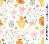 easter seamless pattern with... | Shutterstock .eps vector #1923399380
