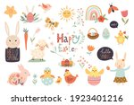 easter elements collection with ... | Shutterstock .eps vector #1923401216