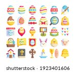 simple set of 30 easter icons...