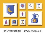 set ramadan kareem with rosary... | Shutterstock .eps vector #1923405116