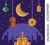 arabic mosque building moon... | Shutterstock .eps vector #1923409589