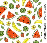 funny summer fruit pattern with ... | Shutterstock .eps vector #1923417329