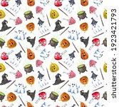 watercolor hand drawn helloween ... | Shutterstock . vector #1923421793
