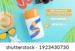 3d render of sunscreen cream... | Shutterstock . vector #1923430730