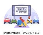 couple at car cinema. romantic... | Shutterstock .eps vector #1923474119