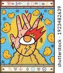 vector image. a burning hand ... | Shutterstock .eps vector #1923482639