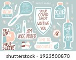 vaccination lettering stickers... | Shutterstock .eps vector #1923500870