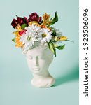 Antique Head Statue With Fresh...
