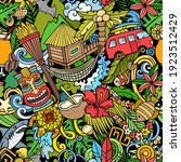 cartoon doodles hawaii seamless ... | Shutterstock .eps vector #1923512429