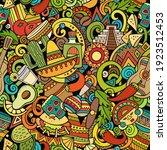 cartoon doodles mexico seamless ... | Shutterstock .eps vector #1923512453