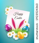 happy easter card with eggs ... | Shutterstock .eps vector #1923524363