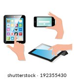 hand holding touch pad pc and... | Shutterstock .eps vector #192355430