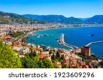 Small photo of Kizil Kule or Red Tower and port aerial panoramic view in Alanya city, Antalya Province on the southern coast of Turkey