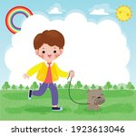 happy cute young boy taking his ... | Shutterstock .eps vector #1923613046