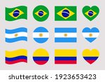 south america countries flags.... | Shutterstock .eps vector #1923653423