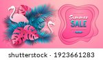 summer sale poster with pink...   Shutterstock .eps vector #1923661283