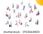 isometric people in airport...   Shutterstock .eps vector #1923663833