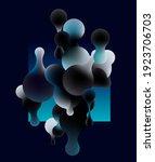 fluid blue bubbles on dark... | Shutterstock .eps vector #1923706703