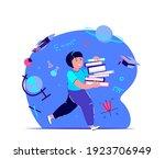pupil schoolgirl kid hurrying...   Shutterstock .eps vector #1923706949