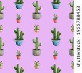 Watercolor Cactus. Pattern...