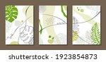 set of three paintings.... | Shutterstock .eps vector #1923854873