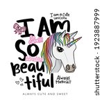 i am so beautiful slogan text... | Shutterstock .eps vector #1923887999