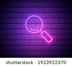 magnifying glass icon in neon...