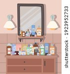 bathroom with mirror and... | Shutterstock .eps vector #1923952733