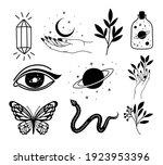 bundle of minimalist tattoo on... | Shutterstock .eps vector #1923953396