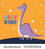 baby dino lettering and one... | Shutterstock .eps vector #1923954026