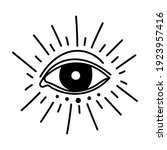 minimalist tattoo of an eye... | Shutterstock .eps vector #1923957416