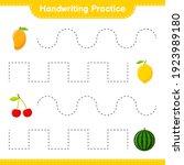 handwriting practice. tracing... | Shutterstock .eps vector #1923989180