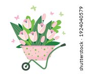 a bouquet of pink tulips in a... | Shutterstock .eps vector #1924040579