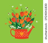a bouquet of red tulips in a... | Shutterstock .eps vector #1924041830