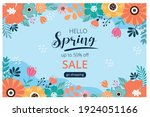 hello spring sale banner with... | Shutterstock .eps vector #1924051166