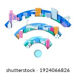 wifi sign with city elements.... | Shutterstock .eps vector #1924066826
