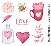 set of big isolated watercolor... | Shutterstock .eps vector #1924083419