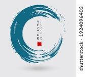 blue ink round stroke on white... | Shutterstock .eps vector #1924096403