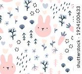 forest rabbit seamless pattern. ... | Shutterstock .eps vector #1924100633