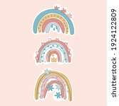 rainbow. set. cartoon doodle... | Shutterstock .eps vector #1924122809