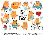 cute fox clip art   set of...   Shutterstock .eps vector #1924193570