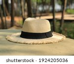 white panama hat on wooden table | Shutterstock . vector #1924205036