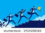 team running to the top   three ... | Shutterstock .eps vector #1924208183