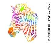 rainbow zebra. zebra head from... | Shutterstock .eps vector #1924225490
