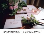Small photo of Subject shooting wedding decor lettering on cards bride and groom once and for all