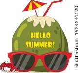 coconut and summer shades with... | Shutterstock .eps vector #1924244120