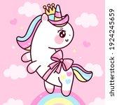 cute unicorn princess vector... | Shutterstock .eps vector #1924245659