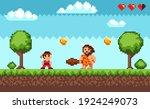 pixel art game battle of ninja... | Shutterstock .eps vector #1924249073