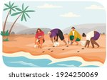social workers rescue turtles... | Shutterstock .eps vector #1924250069